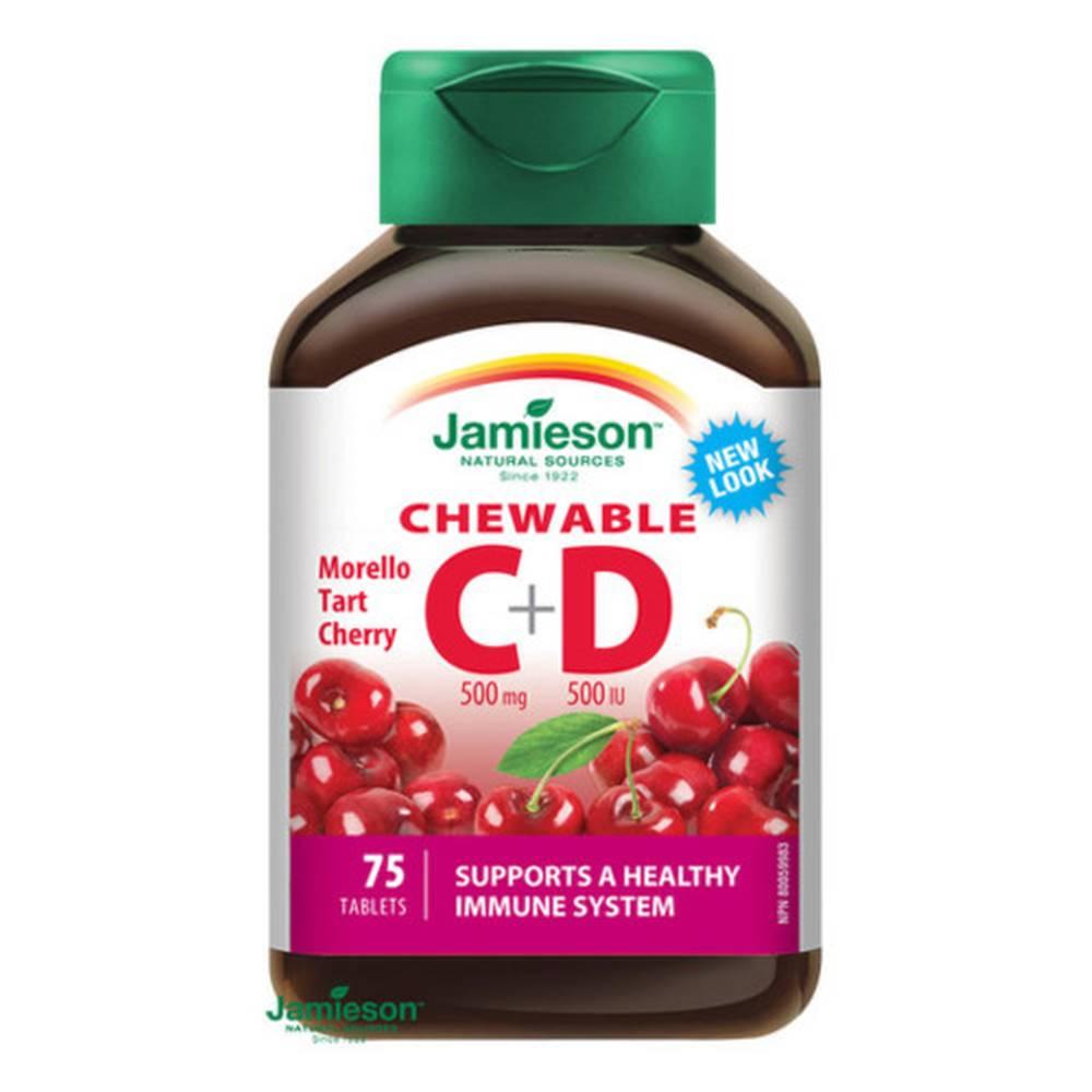 Jamieson JAMIESON Vitamíny C a D3 500 mg s príchuťou čerešne 75 cmúľacích tabliet