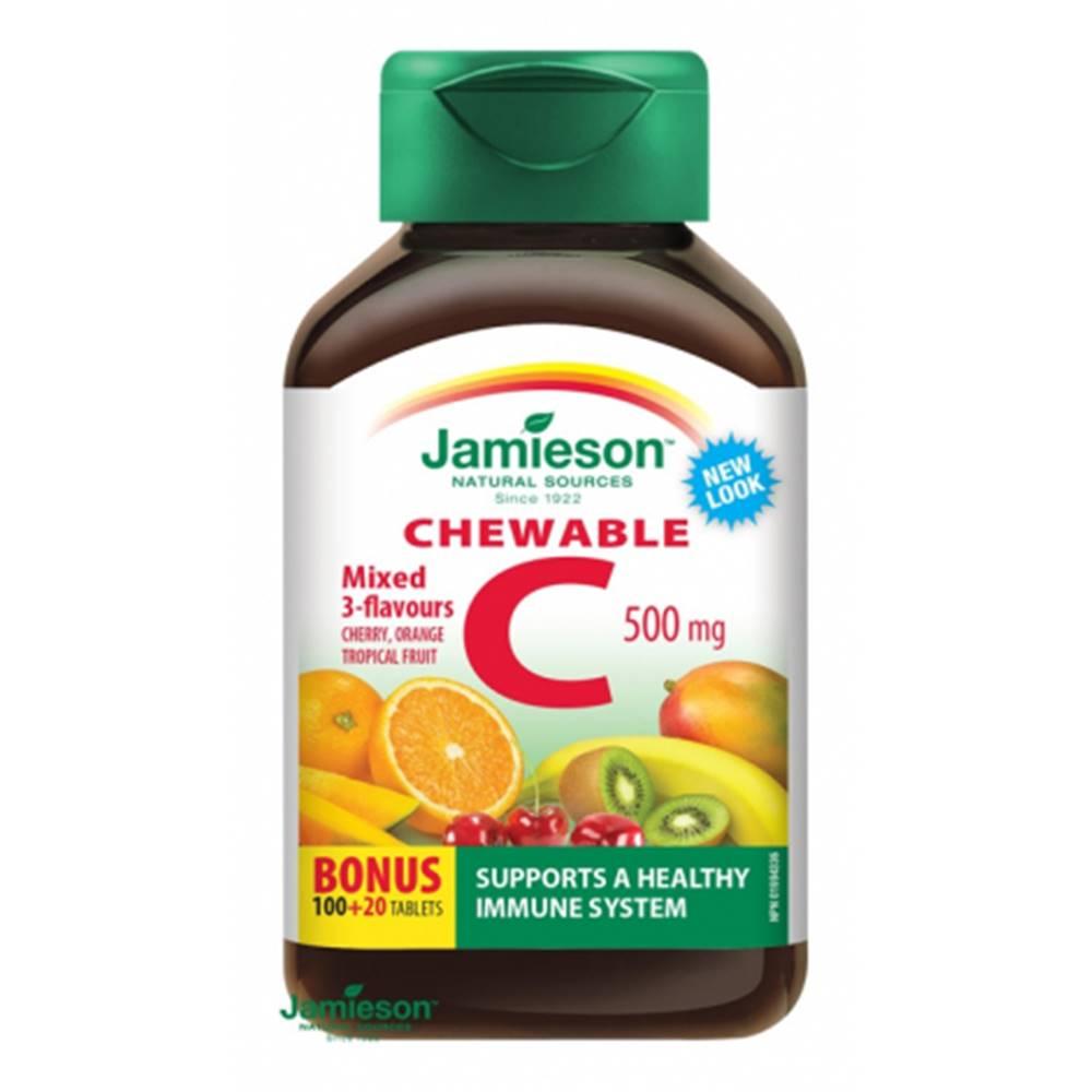 Jamieson Jamieson Vitamín C 500 mg tablety na cmúľanie mix troch ovocných príchutí 100 + 20 tbl ZDARMA