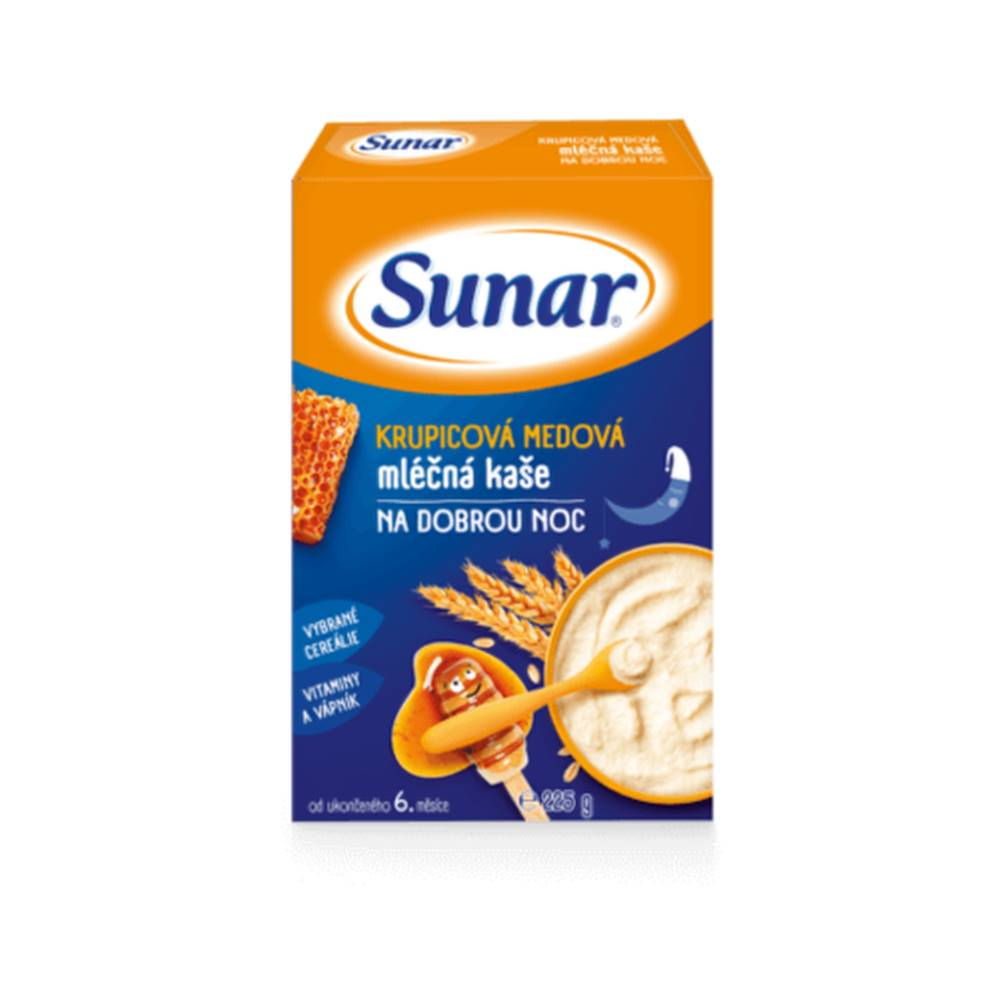 Sunar SUNAR Krupicová medová kaša mliečna na dobrú noc 225 g