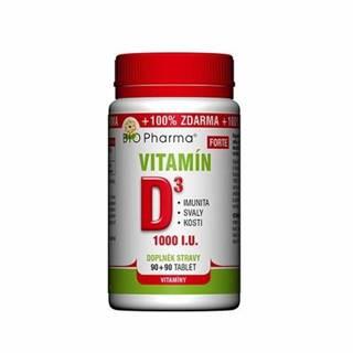 BIO PHARMA Vitamín D3 forte 90 + 90 kapsúl ZADARMO