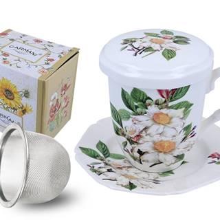 Hrnček so sitkom, pokrievkou a tanierikom - Šípkový kvet