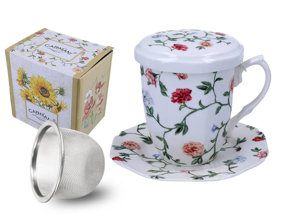 Manu tea Hrnček so sitkom, pokrievkou a tanierikom - Ružičky