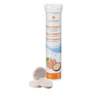 LIVSANE Zinok a vitamín C broskyňa múčenka 20 šumivých tabliet