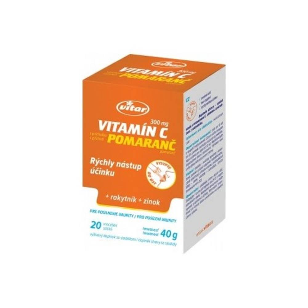 Vitar VITAR Vitamín C 300 mg + rakytník + zinok s pomarančovou príchuťou 20 vreciek